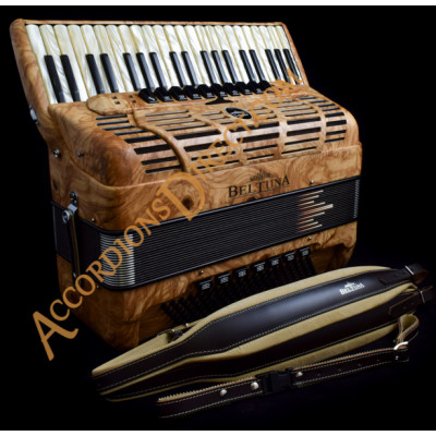 Beltuna Leader IV 120 bass double tone chamber musette tuned piano accordion in olive wood. MIDI options available.
