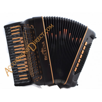 Beltuna Leader IV 96 bass double tone chamber musette tuned piano accordion in black and copper. MIDI options available.