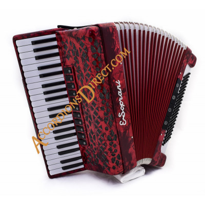 E. Soprani 4 voice 120 bass red piano accordion, MIDI options available