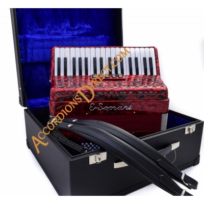 E. Soprani 34 key 72 bass red accordion, MIDI options