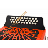 Hohner Compadre 3 row A, D, G diatonic red button accordion.  MIDI and microphone options.