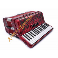 Moreschi 34 key 72 bass 3 voice red compact accordion.  Midi expansion option.