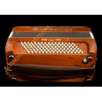 Paolo Soprani Folk 34 key 96 bass 3 voice piano accordion in cherry wood.  Sound expansion options.