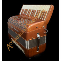 Paolo Soprani Folk 37 key 96 bass 4 voice musette tuned piano accordion in cherry wood.  Sound expansion options.