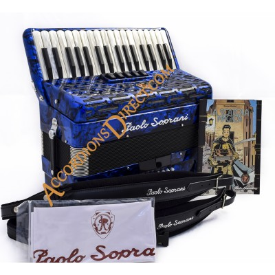 Paolo Soprani 34 key 3 voice Scottish 72 bass accordion.  Sound expansion options.