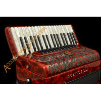 Scandalli Air I 37 key 96 bass 4 voice red piano accordion. Midi options available.