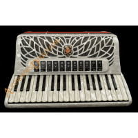 Scandalli Air I 37 key 96 bass 4 voice white piano accordion. Midi options available.