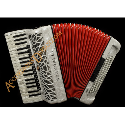 Scandalli Air I 37 key 96 bass 4 voice white accordion. Midi options available.