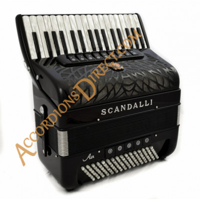 Scandalli Air II 34 key 96 bass 4 voice tone chamber black piano accordion.  Midi expansion available.