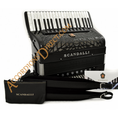 Scandalli Air III T 37 key 120 bass 4 voice musette tuned black piano accordion with double tone chamber.  Midi expansion available.