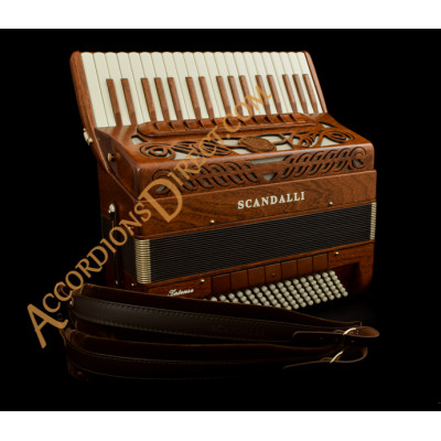 Scandalli Intense Air 37 Key 120 bass double tone chamber musette tuned piano accordion in mahogany. MIDI options available.