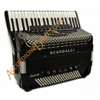 Scandalli Super VI Extreme 41 Key 120 bass double tone chamber accordion with artisan reeds & musette tuning. MIDI options available.