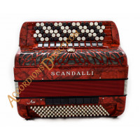 Scandalli Air I C chromatic C system 120 bass 4 voice red button accordion. Midi options available.