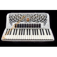 Scandalli Air I S 41 key 120 bass 4 voice white piano accordion with decoration. MIDI options available.