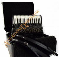 Scandalli Air II 34 key 96 bass 4 voice black cassotto piano accordion with sparkle finish.  Midi expansion available.
