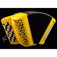 Scandalli Air II C  96 bass 4 voice C system yellow sparkle chromatic button accordion with double cassotto, musette tuned, with MIDI.