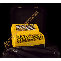 Scandalli Air II C  96 bass 4 voice C system yellow sparkle chromatic button accordion with double cassotto, musette tuned. Midi options available.