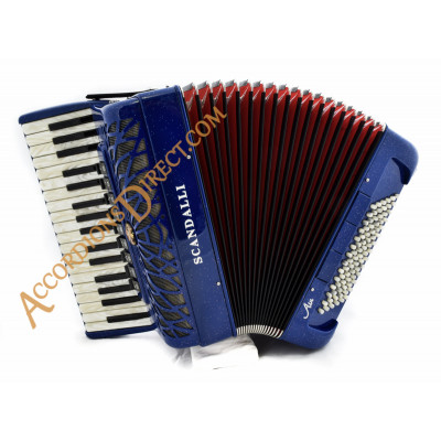 Scandalli Air 34 key 84 bass 4 voice red Scottish tuned blue with sparkle finish piano accordion, MIDI options available