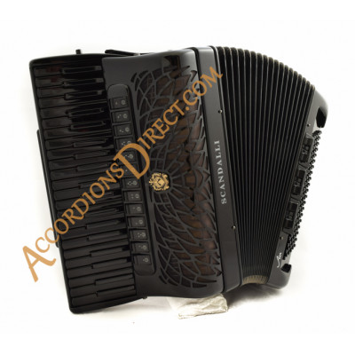Scandalli Air IV 41 key 120 bass 4 voice double octave tuned All Black double Tone Chamber accordion. Midi options available.