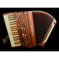 Scandalli Intense 37 Key 120 bass double tone chamber piano accordion in mahogany. Double octave tuned.  MIDI options available.
