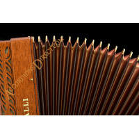 Scandalli Intense 37 Key 120 bass double tone chamber piano accordion in mahogany with MIDI. Double octave tuned.