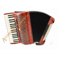 Scandalli Air II 34 key 96 bass 4 voice tone chamber red piano accordion.  Midi expansion available.