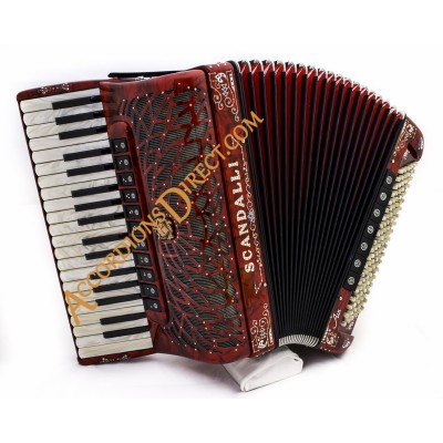 Scandalli Air III 37 key 120 bass 4 voice musette tuned cassotto red decorated piano accordion.  Midi expansion available.