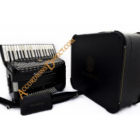 Scandalli Polifonico IX 37 key 96 bass black piano accordion with MIDI.