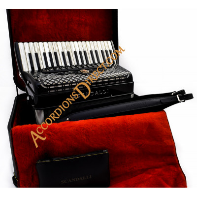 Scandalli Polifonico IX 37 key 96 bass 37 Key 96 bass black piano accordion. MIDI options available.